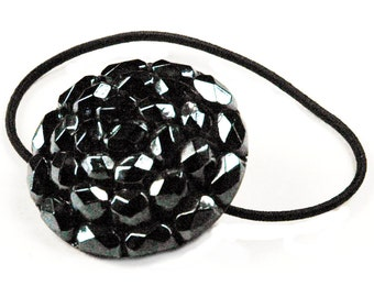 Ponytail Holder Hair Tie - Gunmetal Finish Faceted Glass Vintage Button