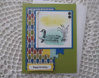 Handmade Greeting Card: Scenic Birthday (Duck and Pond)