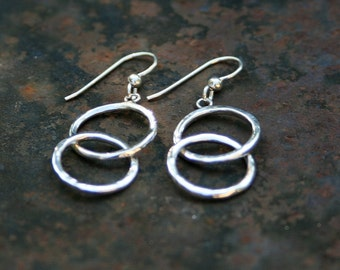 Handmade Hammered Sterling Silver Double Hoop Earrings