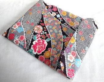 iPad mini Cover Kindle paperwhite case,Kobo Arck sleeve, Flap Closure Kimono pattern fabric flowers black