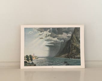 1900 STORMY WEATHER lithograph - original antique print - storm at sea - stormy seas - foul weather print
