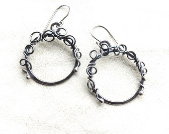 Sterling Silver Hoop Earrings - Holiday Hoop Earrings - Antiqued Sterling Earrings - Hammered Hoops - Wedding Earrings