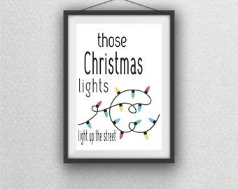 Coldplay Lyrics Christmas Holiday Lights Wall Art Printable Decor Digital Download