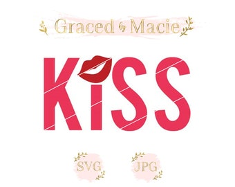 KISS with Lips over I SVG