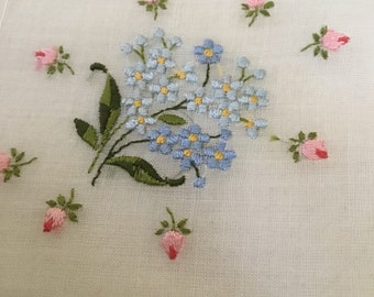 Vintage Handkerchief / Embroidered Forget Me Nots and Roses