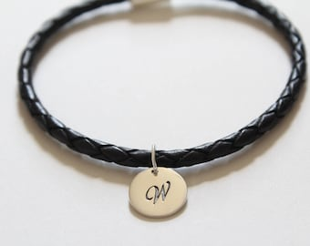 Leather Bracelet with Sterling Silver Cursive W Letter Charm, Bracelet with Silver Letter W Pendant, Initial W Charm Bracelet, W Bracelet