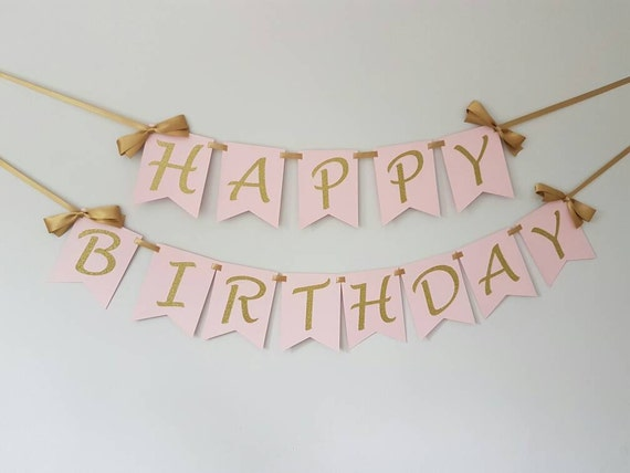 Happy Birthday Banner. Wall Banner. Pink And Gold. Smash Cake