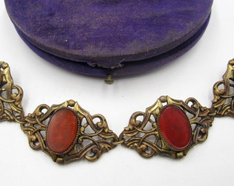 Antique Art nouveau brass & Carnelian bracelet