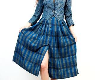 Blue Plaid Skirt / High Waist Skirt / Button Down Skirt / High Waist Skirt / Boho Skirt / Size XS / S