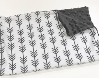 Grey Arrow Baby Boy MINKY Lovey Blanket, MINI Minky Baby Boy Blanket, Taggie Blanket, Woodland Arrow Baby Shower Gift