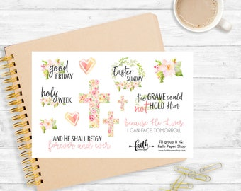 Planner Stickers, Happy Planner, Easter, Mini Happy Planner, Bible Verse, Holy Week, Scripture, Illustrated Faith, eclp, Christian Stickers