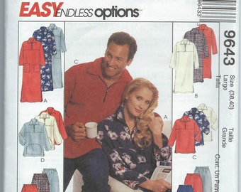 McCall's 9643 Misses' and Men's Lounger in Two Lengths or Top and Pull-On Pants - Size Large - Uncut Pattern