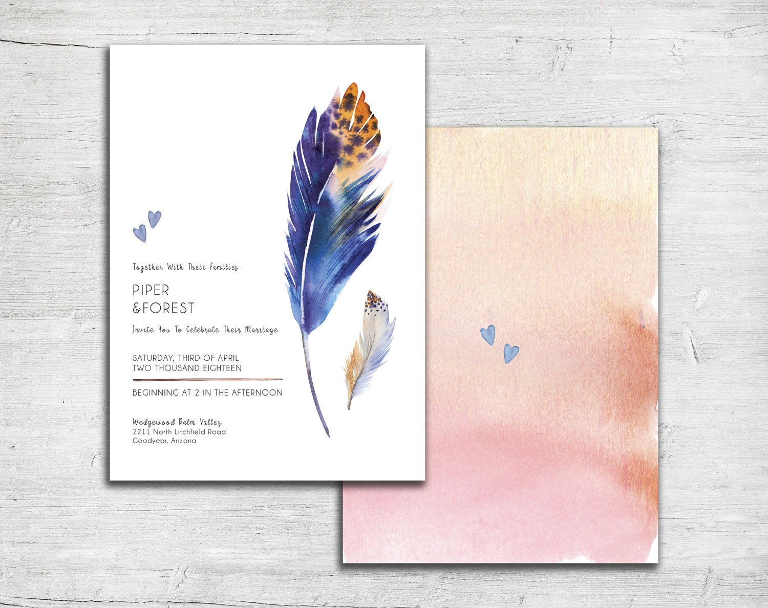 Blue Feathers Wedding Invitation Set Native American Wedding