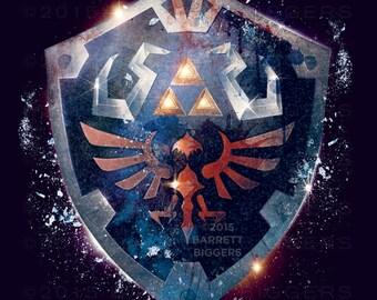 Legend of Zelda Epic Hylian Shield Poster - signed museum quality giclée fine art print