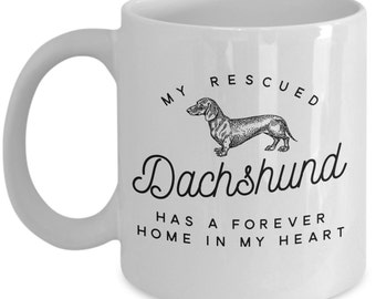 Dachshund Gift Coffee Mug For Doxie Wiener Dog Lovers - Pet Rescue Cute Novelty Cup