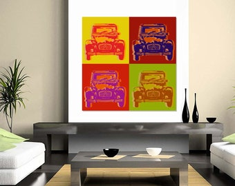 Citroen 2CV Pop Art  Warhol style - 4 panels - giclee o canvas