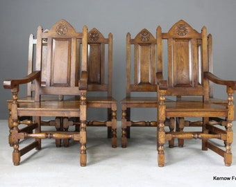 Set 6 Oak Gothic Style Dining Chairs