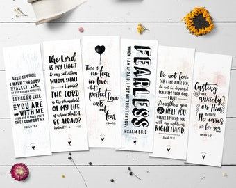 Fearless // Artisanal Bookmark Set of (6) // Book Lovers | Christian Bookmarks | Perfect Love Casts Out Fear | Do Not Fear | Psalm 23