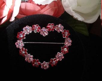 Vintage Rhinestone Floral Heart Brooch