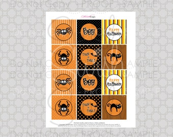 SALE:  Halloween Cupcake Toppers | Cute Spider Cupcake Toppers | 2 inch party circles | instant download | digital download | orange black