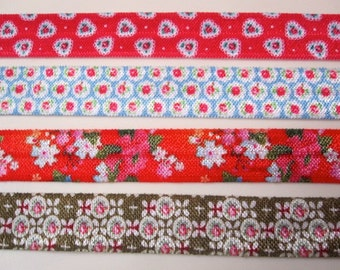 15mm floral elastic ribbon by 1meter, shop packaging, craft, wrapping, flower elastic ribbon hair tie band