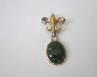 Antique Gold Filled & Jade Fleur De Lis Brooch