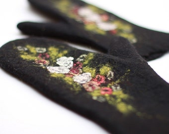 Felted black mittens with flowers merino wool gloves red white roses Russian style women arm warmers Christmas gift - Handmade to Order