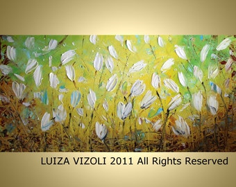 Abstract WHITE 72x36 DELICATE FLOWERS Palette Impasto Oil Large Painting by Luiza Vizoli