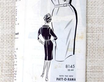 Vintage Pattern Patt-O-Rama 8145 1960s shirtwaist Dress Large sheath wiggle kick pleat bust 38 wiggle skirt skirt three quarter sleeve