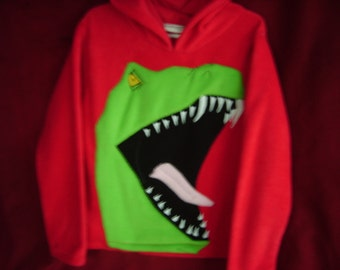 T-rex dinosaur hoodie handmade in Cornwall