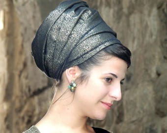 Nehorah Brocade Headscarf Gold Black TICHEL, Hair Snood, Head Scarf, Head Covering, Jewish Headcovering, Scarf, Bandana, Pashmina,