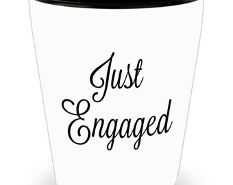 Engagement shot glass, Just Engaged, ceramic, barware