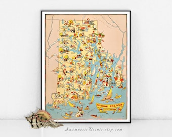 RHODE ISLAND MAP Print - vintage 1930's picture map to frame - illustrator Ruth Taylor White - colorful decor for home or office