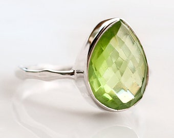 Green Peridot Ring Silver- August Birthstone Ring - Green Stone Ring - Silver Ring - Stackable Ring - Tear Drop Ring - Solitaire Ring