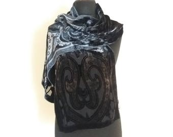 Vintage Silk Velvet Black Soft Winter Scarf