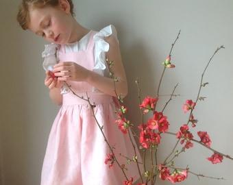 Girls Pinafore handmade in soft linen 'Emmeline' - Champagne pink