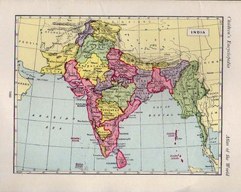 Large Gorgeous Map of INDIA SOUTHERN 1890 atlas antique map