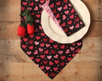 "Valentine Table Runner, 36"", 72"" or 90"" Table Runner, Valentine Hearts, Pink Hearts on Black with Pink Glitter, Black and Pink Home Decor"