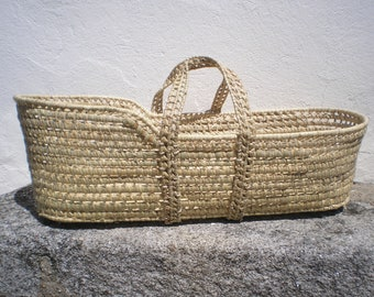 Moses Basket-Palm Leaf Baby Moses Basket- You can choose the option with foam lined mattress - Handwoven baby basket-Cribs and Cradles-