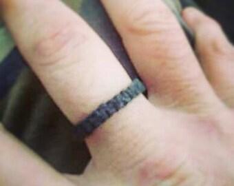 Veteran 22 Suicide Awareness Ring - Mission 22 Support - Memorial Fundraising - Philanthropy Donations - Battle Buddy Black Hemp Finger Ring
