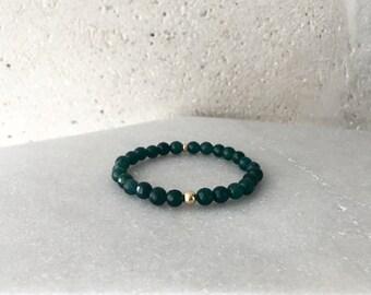 Large Jade Green Stretch Bracelet