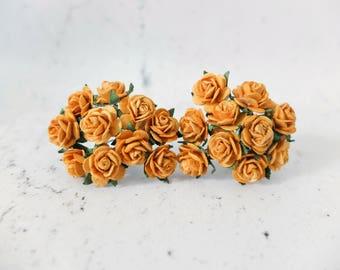 20 15mm ochre yellow paper roses - 1.5 cm paper roses