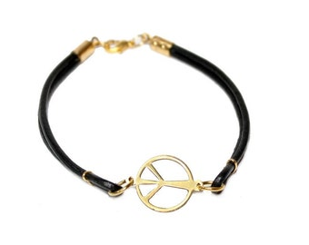Womans Leather bracelet, vintage peace sign, boho, stacking, bracelet, modern, rocker, minimalist, hippie,  - Free shipping!