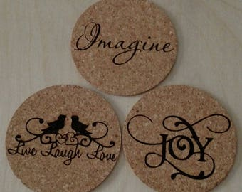 Coasters, Cork Laser Engraved Custom Coasters