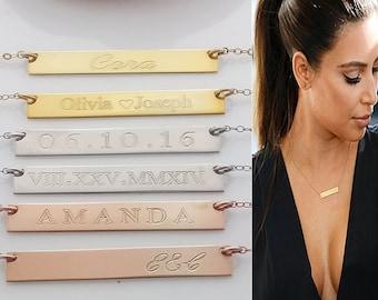 Engraved gold bar necklace, Rose engraved Gold Bar Necklace, Personalized Bar, Custom name Necklace, Horizontal bar, Monogrammed necklace