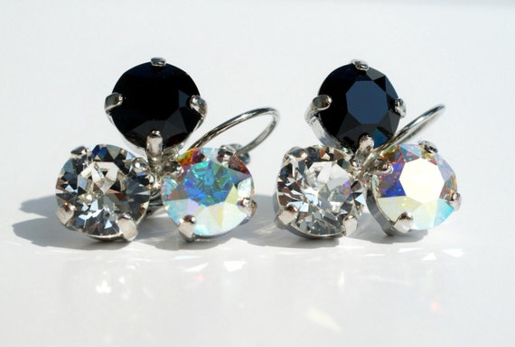 Swarovski Crystal 8.5mm Earrings   Three Stone - Lucky Clover Earrings    Crystal, Jet Black and Aurora Borealis      FREE SHIPPING