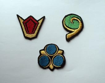 Legend of Zelda Ocarina of time, Spirit stones. Shiny metallic Embroidery Iron on patches.