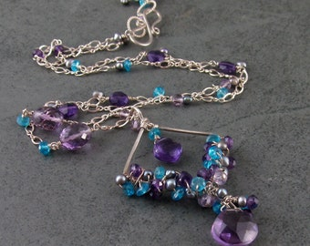 Amethyst necklace with apatite, gray pearls-KYRA-handmade designer silver jewelry OOAK