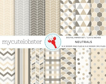 Neutrals Digital Paper Set - patterned paper pack, neutral shades, chevron, scallop - personal use, small commercial use, instant download