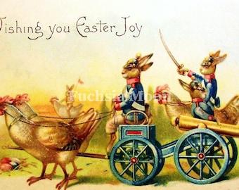 DIGITAL DOWNLOAD : Truly Unusual Vintage Victorian Soldier Easter Bunny Rabbits Image